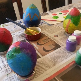 Painted Papier-mâché eggs
